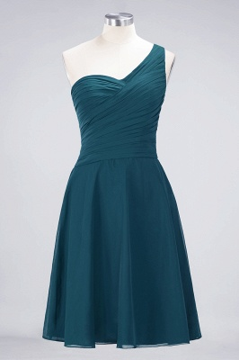 A-line Chiffon One-Shoulder Sweetheart Summer Knee-Length Bridesmaid Dress UK with Ruffles_26