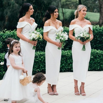 Off The Shoulder Flirty Long Bridesmaid Dresses With Split_2