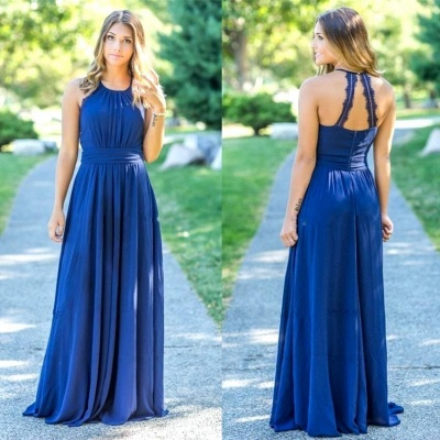 Ocean Blue Halter Chiffon  Bridesmaid Dresses Open Back On Sale_3