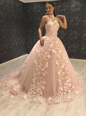 Chic Halter Sleeveless Tulle Prom Dress Puffy With Lace Appliques On Sale_3