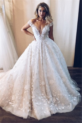 Glamorous Tulle Lace Off-the-Shoulder V-Neck Wedding Dresses Princess Appliques Sleeveless Bridal Gowns Online_1