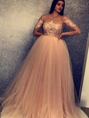New Arrival Scoop Short Sleeves Appliques Tulle Fitted Floor-Length Exclusive Prom Dresses UK   New Styles_3
