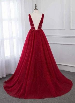 Glamour Deep V-Neck Summer Tulle  A-line Rhinestones Prom Dress UKes UK_3