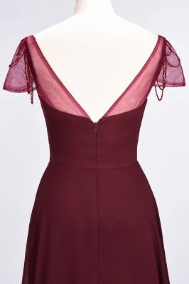 Elegant Chiffon Sweetheart Cap-Sleeves Bridesmaid Dress with Ruffles Beadings_7