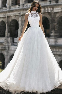 Affordable Tulle High-Neck Lace A-Line Wedding Dresses Sleeveless Appliques Bridal Gowns Online_3