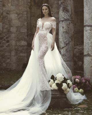 Glamorous Mermaid Off-the-Shoulder V-Neck Appliques Tulle Wedding Dresses | Bridal Gowns Online_3