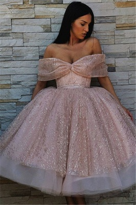 New Arrival Off-the-Shoulder Puffy Tulle Tea-Length Exclusive Prom Dresses UK | New Styles_1