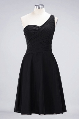 A-line Chiffon One-Shoulder Sweetheart Summer Knee-Length Bridesmaid Dress UK with Ruffles_28