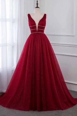 Glamour Deep V-Neck Summer Tulle  A-line Rhinestones Prom Dress UKes UK_1