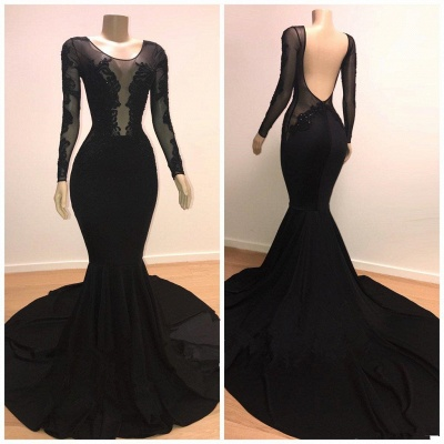 Unique Scoop Sleeved Mermaid Evening Gowns Open Back Prom Dresses UK_3