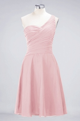 A-line Chiffon One-Shoulder Sweetheart Summer Knee-Length Bridesmaid Dress UK with Ruffles_3