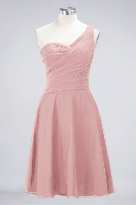A-line Chiffon One-Shoulder Sweetheart Summer Knee-Length Bridesmaid Dress UK with Ruffles_6