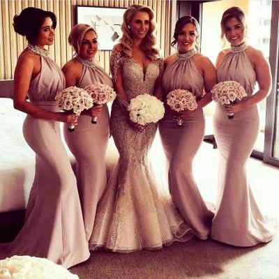 Elegant Halter Mermaid Ruched Long Bridesmaid Dresses Online_3