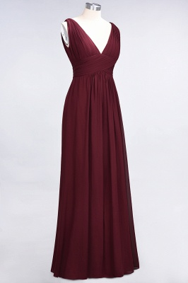 Glamorous Long Chiffon Ruffles Bridesmaid Dresses V-Neck Sleeveless Wedding Party Dress_4