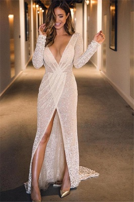 New Arrival Deep V-Neck Sleeved Front Split Fitted Floor-Length Exclusive Prom Dresses UK | New Styles_1