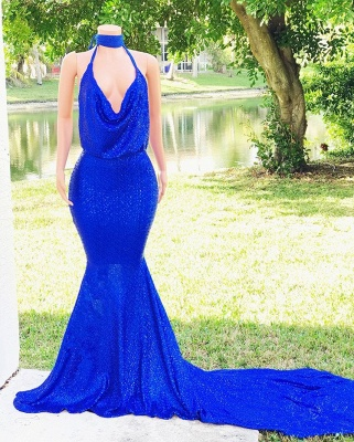 Unique Halter Summer Mermaid Fit and Flare Sweep Train V-Neck Prom Dress UKes UK_4