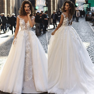 Glamorous Ball Gown Tulle Cap-Sleeves V-Neck Appliques Wedding Dresses | Bridal Gowns On Sale_4