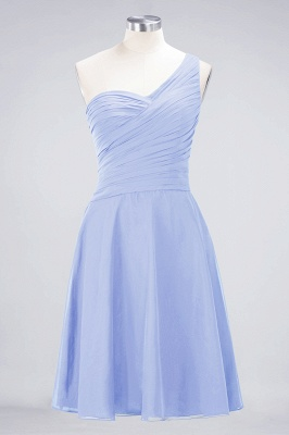 A-line Chiffon One-Shoulder Sweetheart Summer Knee-Length Bridesmaid Dress UK with Ruffles_21