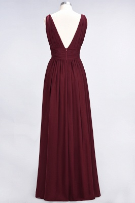 Glamorous Long Chiffon Ruffles Bridesmaid Dresses V-Neck Sleeveless Wedding Party Dress_3