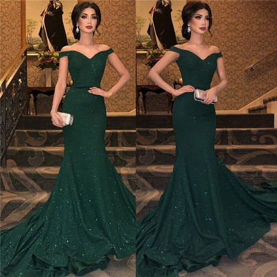 Dark Green Off-The-Shoulder Shining Sequins Mermaid Sleeveless Sweep Train Exclusive Prom Dresses UK | New Styles_3