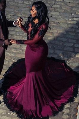 Beautiful Scoop Sleeved Appliques Tulle Mermaid Floor-Length Exclusive Prom Dresses UK   New Styles_1