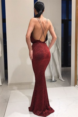Beautiful Deep V-Neck Sleeveless Prom Dresses Lace-up Mermaid Evening Party Gowns_3