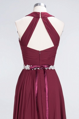 Charming Halter V-Neck Sleeveless Ruffle Bridesmaid Dress with Sashes Online_5
