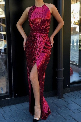 Stunning Halter Sleeveless Shining Sequins Front Split Mermaid Floor-Length Exclusive Prom Dresses UK | New Styles_1