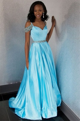 New Arrival Off-the-Shoulder Fitted Rhinestones Lace Floor-Length Exclusive Prom Dresses UK | New Styles_3