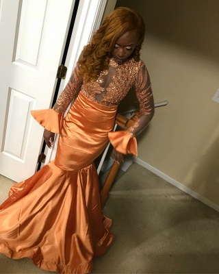 Stunning Round Neck Appliques Shining Sequins Sleeved Mermaid Floor-Length Exclusive Prom Dresses UK | New Styles_1