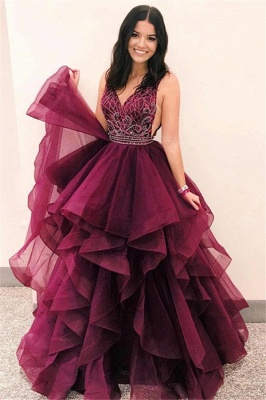 Beautiful V-Neck Sleeveless Appliques Tulle Fitted Floor-Length Exclusive Prom Dresses UK | New Styles_1