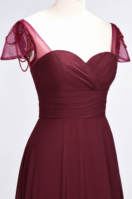 Elegant Chiffon Sweetheart Cap-Sleeves Bridesmaid Dress with Ruffles Beadings_6