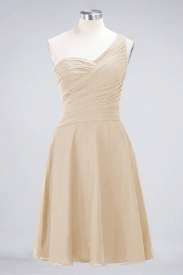 A-line Chiffon One-Shoulder Sweetheart Summer Knee-Length Bridesmaid Dress UK with Ruffles_14