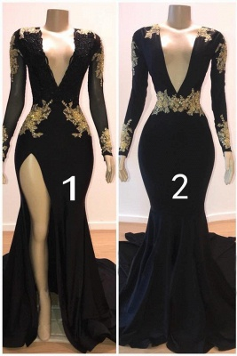 Beautiful V-Neck Sleeved Prom Dress Long Mermaid Evening Gowns With Appliques_1