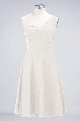 A-line Chiffon One-Shoulder Sweetheart Summer Knee-Length Bridesmaid Dress UK with Ruffles_2