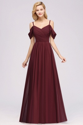 A-Line Chiffon Womens V-Neck Thin Straps Short-Sleeves Floor-Length Bridesmaid Dresses with Ruffles | Suzhoudress UK_3