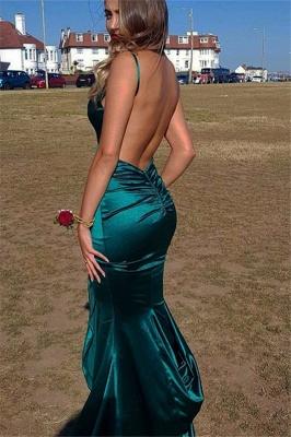 Beautiful Spaghetti Straps V-Neck Mermaid Prom Dresses Open Back_3