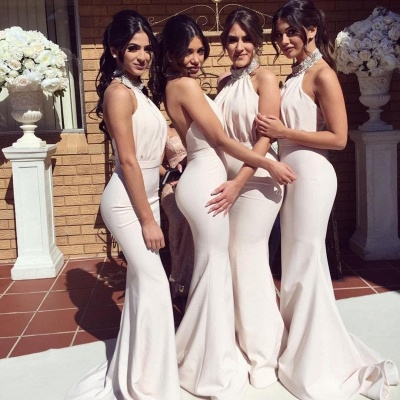 Elegant Halter Mermaid Ruched Long Bridesmaid Dresses Online_4