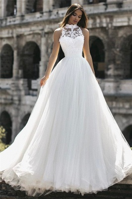 Affordable Tulle High-Neck Lace A-Line Wedding Dresses Sleeveless Appliques Bridal Gowns Online_2