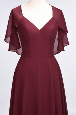 Charming V-Neck Short Sleeves Long Bridesmaid Dress On Sale_5