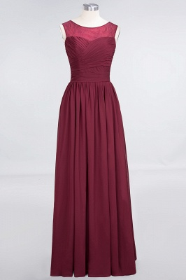 Elegant Chiffon Tulle Long Bridesmaid Dress With Ruffles Sleeveless_1