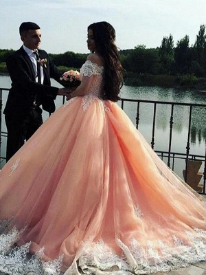 Elegant Off-the-Shoulder Appliques Prom Dresses Puffy Tulle Evening Gowns_3
