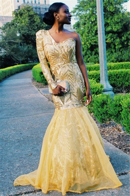 Beautiful One Shoulder Prom Dresses Sleeved Mermaid Evening Party Gowns_5