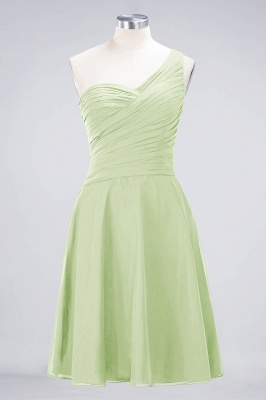 A-line Chiffon One-Shoulder Sweetheart Summer Knee-Length Bridesmaid Dress UK with Ruffles_33