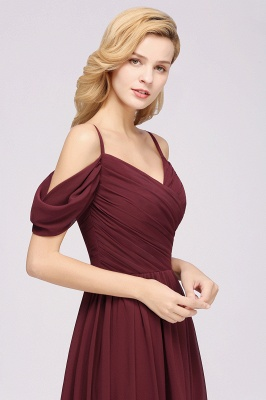 A-Line Chiffon Womens V-Neck Thin Straps Short-Sleeves Floor-Length Bridesmaid Dresses with Ruffles | Suzhoudress UK_6