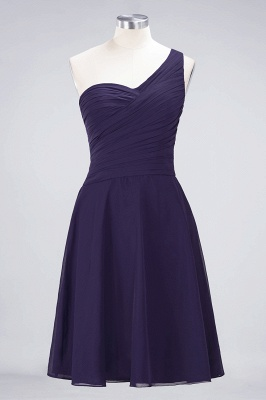 A-line Chiffon One-Shoulder Sweetheart Summer Knee-Length Bridesmaid Dress UK with Ruffles_18