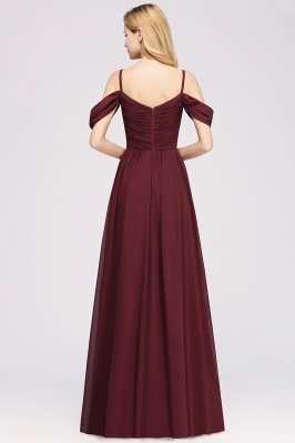 A-Line Chiffon Womens V-Neck Thin Straps Short-Sleeves Floor-Length Bridesmaid Dresses with Ruffles | Suzhoudress UK_2