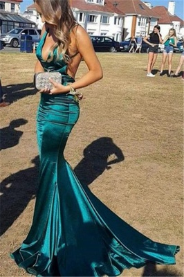 Beautiful Spaghetti Straps V-Neck Mermaid Prom Dresses Open Back_1