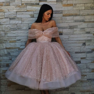 New Arrival Off-the-Shoulder Puffy Tulle Tea-Length Exclusive Prom Dresses UK | New Styles_3
