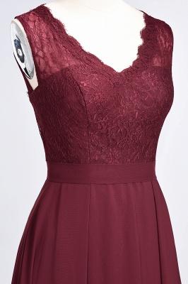 Modest Chiffon Lace Bridesmaid Dress V-Neck Sleeveless Online_6
